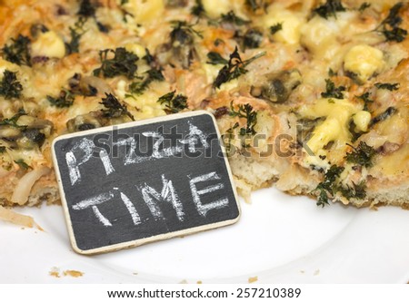 Photo concept - there is always time for pizza. Close-up - stock photo