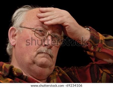 photo confused unwell senior male - stock photo