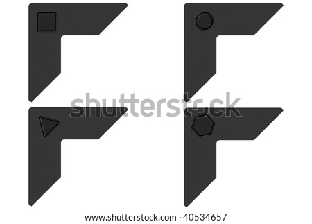 Photo corners with geometrical carves over white background - stock photo