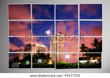 Photo cut into pieces with nature concept - stock photo
