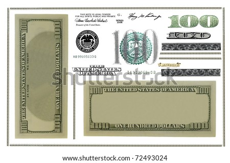 Photo dollar bill elements isolated on white background (Set) - stock photo