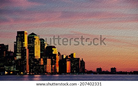photo downtown new york city skyline at sunset evening oil painting - stock photo