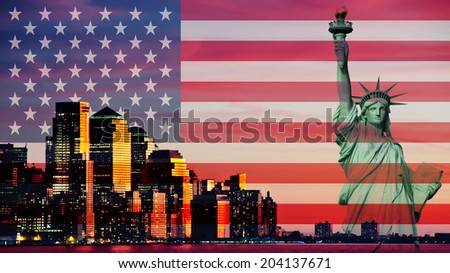 photo downtown new york city statue liberty skyline at sunset evening