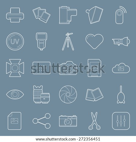 Photo equipment end editing thin lines icons set graphic illustration design - stock photo