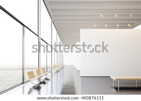 Photo exposition modern gallery,open space.White empty canvas hanging contemporary art museum.Interior loft style with concrete floor,light spots,generic design furniture and building.3d rendering - stock photo