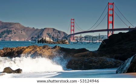 photo famous beautiful san francisco golden gate bridge - stock photo
