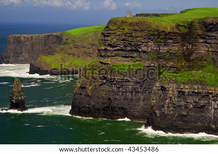 photo famous cliffs of moher on west coast of ireland - stock photo