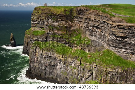 photo famous cliffs of moher seascape from the west ireland - stock photo