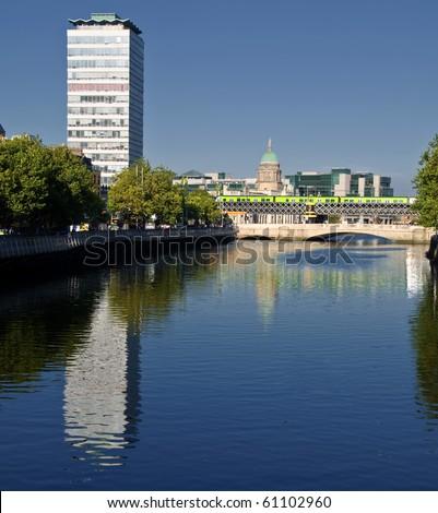 photo famous dublin city landmark in ireland - stock photo