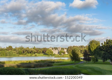 photo famous 5 star dromoland castle hotel and golf club in irel - stock photo