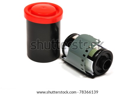 Photo film in cartridge, isolated on a white background - stock photo