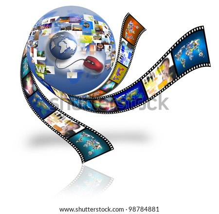 Photo Film Internet for multimedia sharing. Conceptual image about how a computers. - stock photo