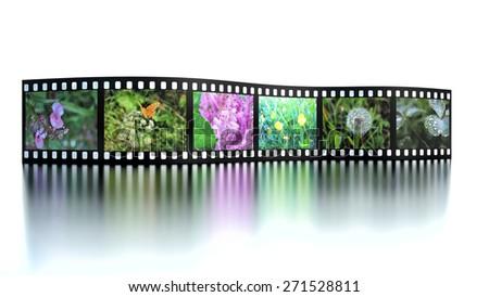 Photo film with reflection on white - stock photo