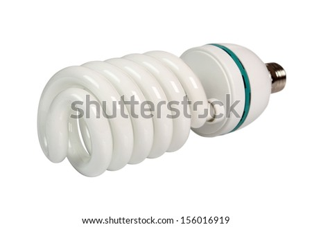 Photo Fluorescent Daylight Energy Saving Light Bulb Spiral 5500K. Isolated with clipping path. - stock photo