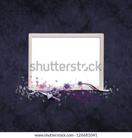 Photo frame and flowers on paper background - stock photo