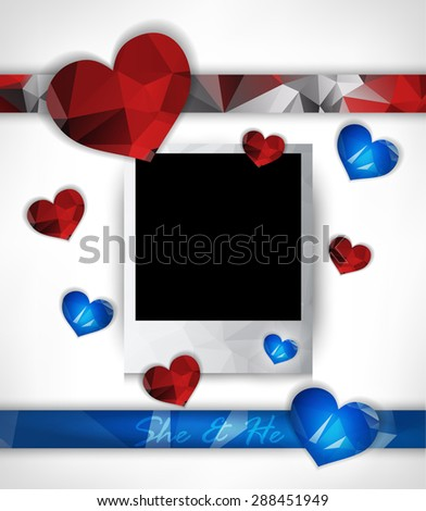Photo frame for couples in love with hearts. Polygonal geometric stylized design. Raster version. - stock photo