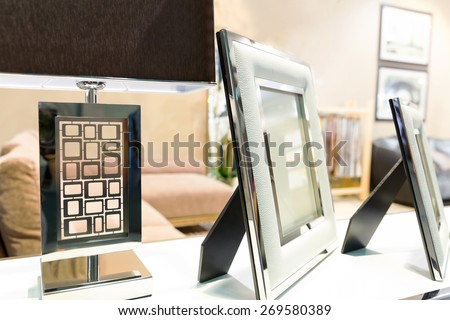 Photo frame in luxury interior - stock photo
