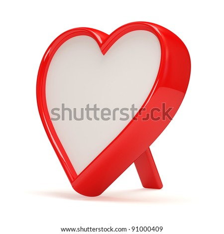 Photo Frame in shape heart on white background - stock photo