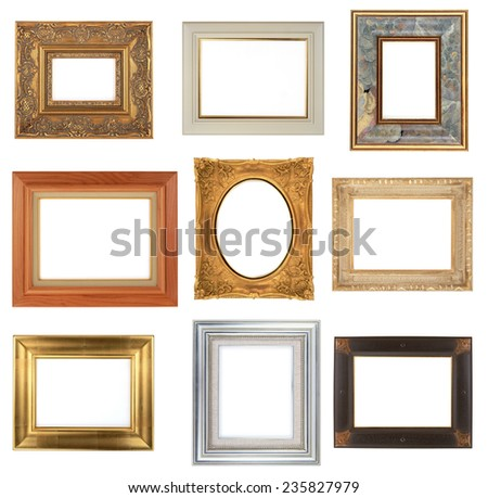 Photo frame isolated on white background, 9 different frames - stock photo