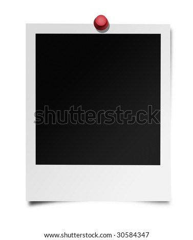 Photo frame on an isolated white background with a drawing pin through it's top (this is an illustration). - stock photo
