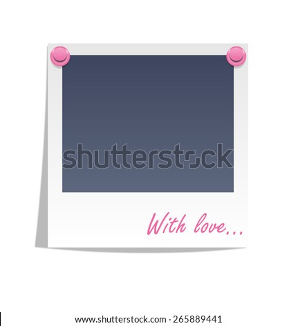 Photo frame on wall with pink pins isolated on white background - stock photo