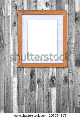 photo frame on wooden board background - stock photo
