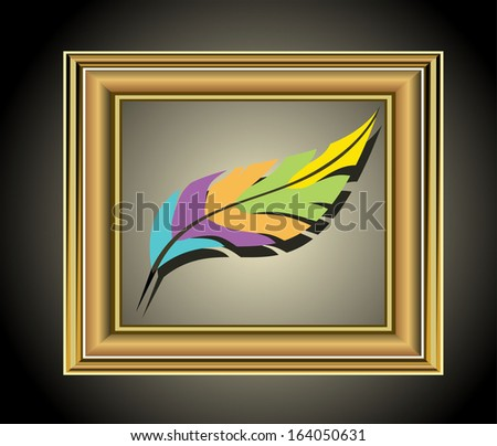 Photo frame with artist's tools - stock photo