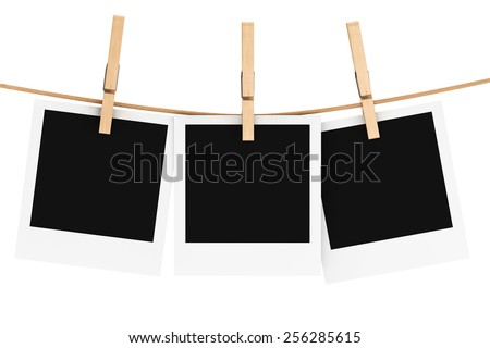 Photo Frame with Clothespin on a white background