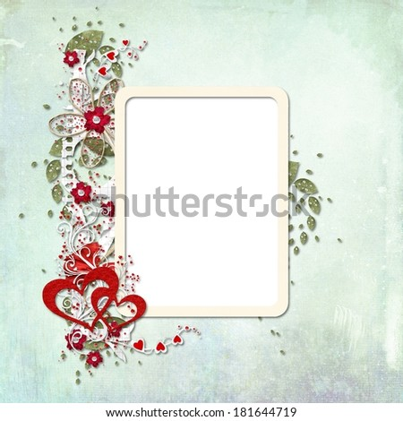 Photo frame with flowers, hearts and leaves on paper background - stock photo