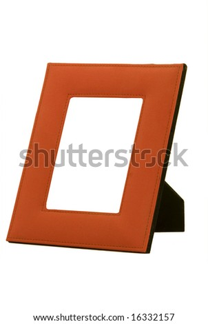 Photo frame with isolated white background, and middle removed for addition of photo - stock photo