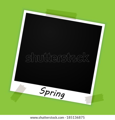 photo frame with spring sign on green background (raster version, available as vector too) - stock photo