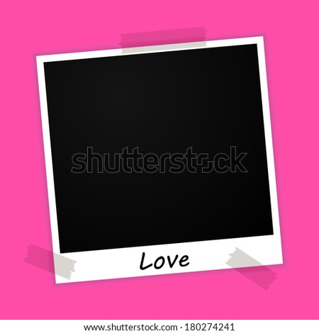 photo frame with vacation sign on pink background (raster version, available as vector too) - stock photo