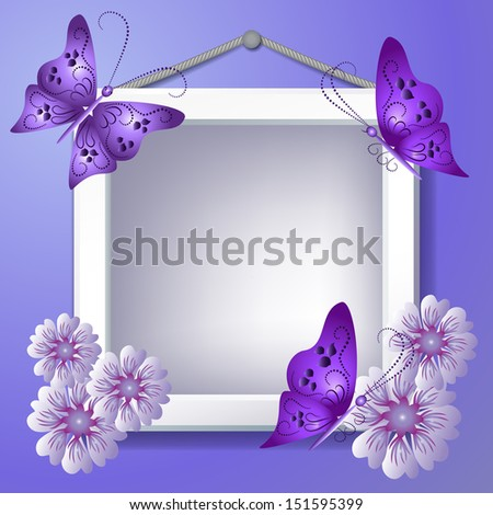 Photo frame with violet flowers and butterflies. Raster version of vector. - stock photo