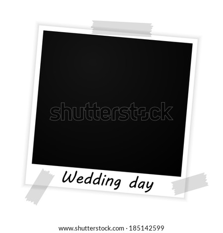 photo frame with wedding day sign on white background (raster version, available as vector too) - stock photo
