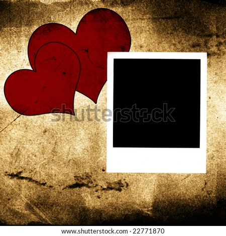 photo frames and two hearts on vintage grunge background - stock photo