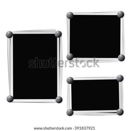Photo frames composition with pins on white background. Raster - stock photo