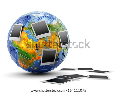 Photo frames from a trip to various places of the world. Travel memories concept. Elements of this image furnished by NASA.  - stock photo