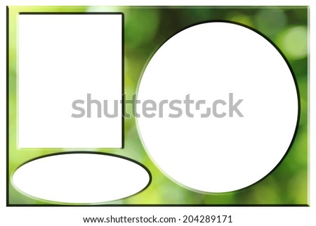 Photo frames of green bokeh