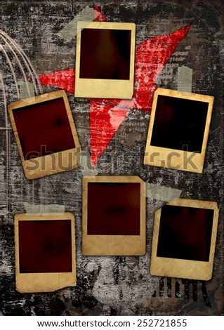 Photo frames on dirty poster - stock photo