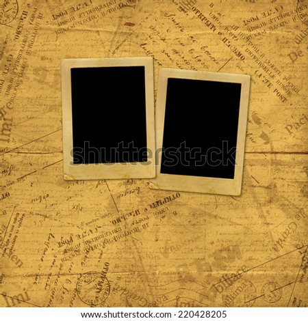 Photo frames on old paper envelopes and letters  - stock photo
