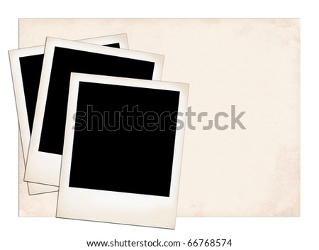 Photo Frames on old paper isolated on white.