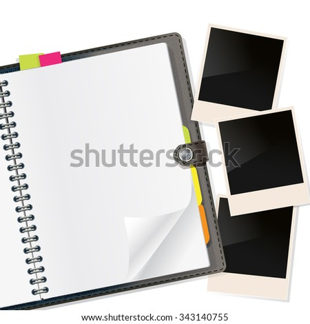 photo frames on open diary on white. JPG version - stock photo