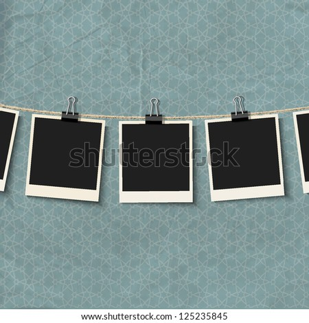 Photo Frames on rope. Raster version - stock photo