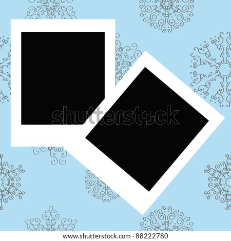 Photo Frames on Winter christmas new year seamless pattern Raster version - stock photo