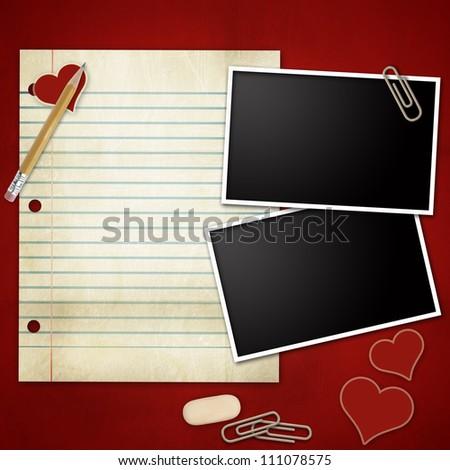 Photo frames with pencil, eraser, clip, notepad, heart - stock photo