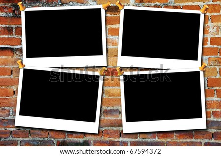 Photo framework on old, aged old wall background . Page decoration. - stock photo