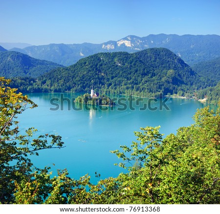 Photo from air perspective, Bled lake with island, slovenia, europe