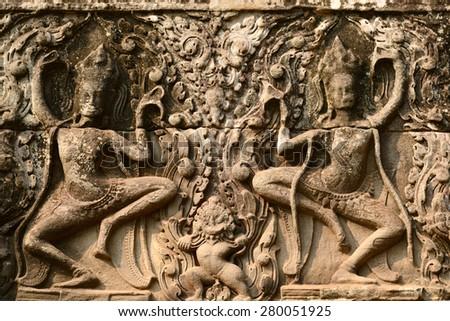 Photo from Angkor Wat world heritage site, Apsara Carvings at Angkor Wat Wall, Cambodia - stock photo