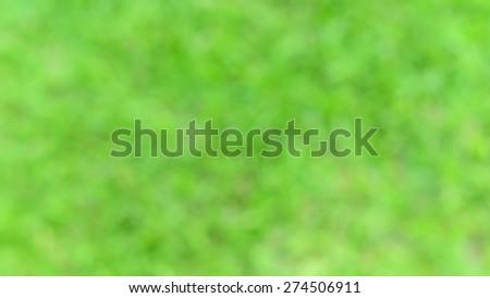 Photo from defocus blur at green grass in garden - stock photo