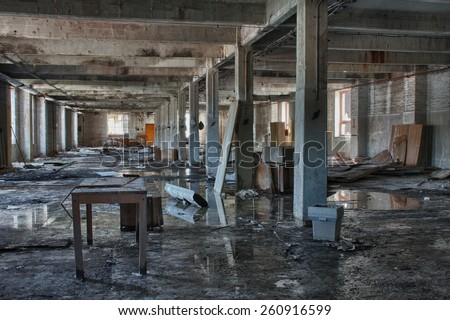 Photo from demolition  textile  factory, big hall - stock photo